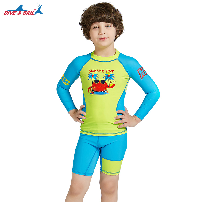 60d599eb0f Detail Feedback Questions about Swimsuit Rash Guards Kids Yellow/blue Sun  Protection Swim Suit SPF+50 Swimwear Age 3 10 Years Bathing Suit Boys Girls  Dive ...