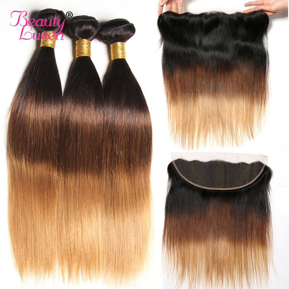 Ombre Straight Hair Bundles With Frontal T1B 4 30 Ombre Brazilian Hair Weave Bundles With Closure