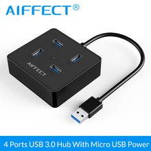 цена на AIFFECT High Speed USB HUB 4 Port Usb Splitter 3.0 Hub with Micro USB Power Interface Portable for Laptop PC Computer Usb Hub