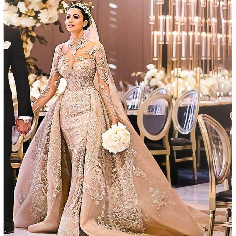 Robe De Mariee 2019	Luxury Long Sleeves Ball Gown Wedding Dresses High Neck Wedding Gowns With Over Skirt