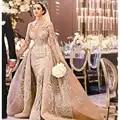 Robe De Mariee 2019 luxe manches longues Robe De bal robes De mariée col haut robes De mariée avec sur jupe