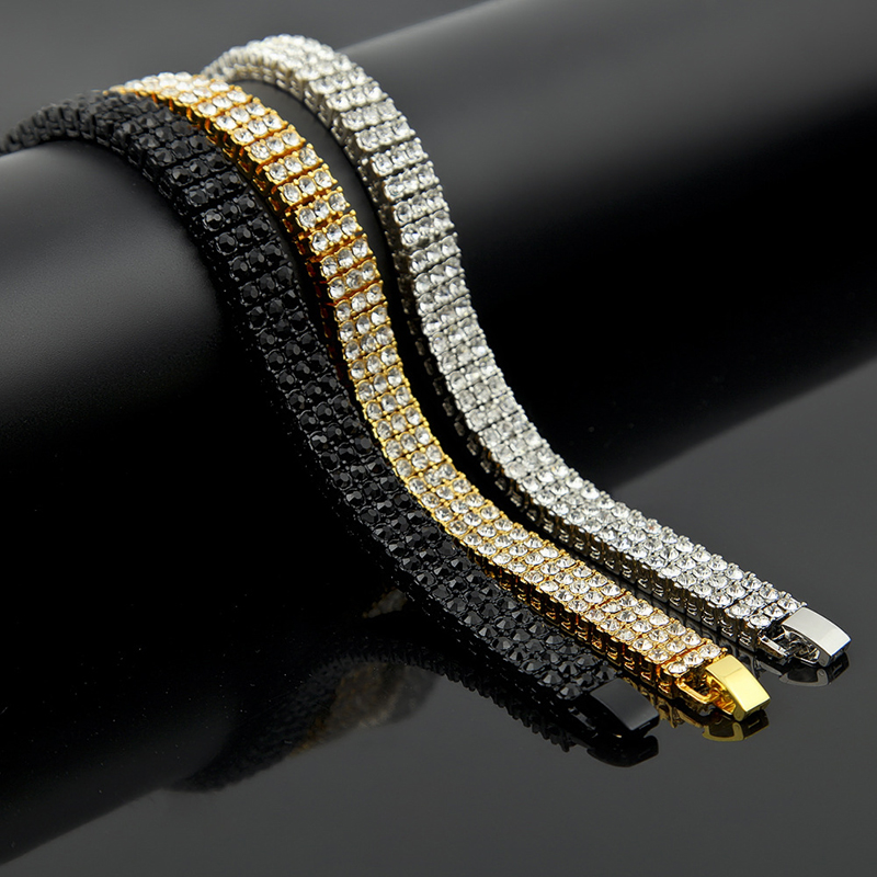 3 Row Iced Out Cubic Zirconia Bracelet Bling Tennis Chain Bracelets Rhinestone Women Men CZ Link Chain For Men Hip Hop Jewelry in Chain Link Bracelets from Jewelry Accessories