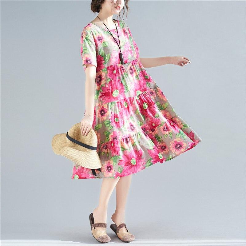 b7114f0fe5919 Worldwide delivery women summer dress plus size short sleeve floral ...