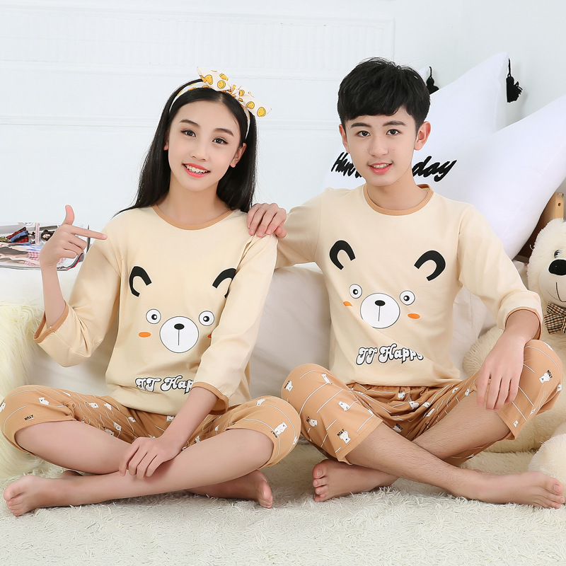 Summer Cartoon Pyjamas Kids Boys Pajamas Baby Girl Clothes Cotton Teens Sleepwear Suit Pijama Enfant Big Boy Girls Nightwear Set