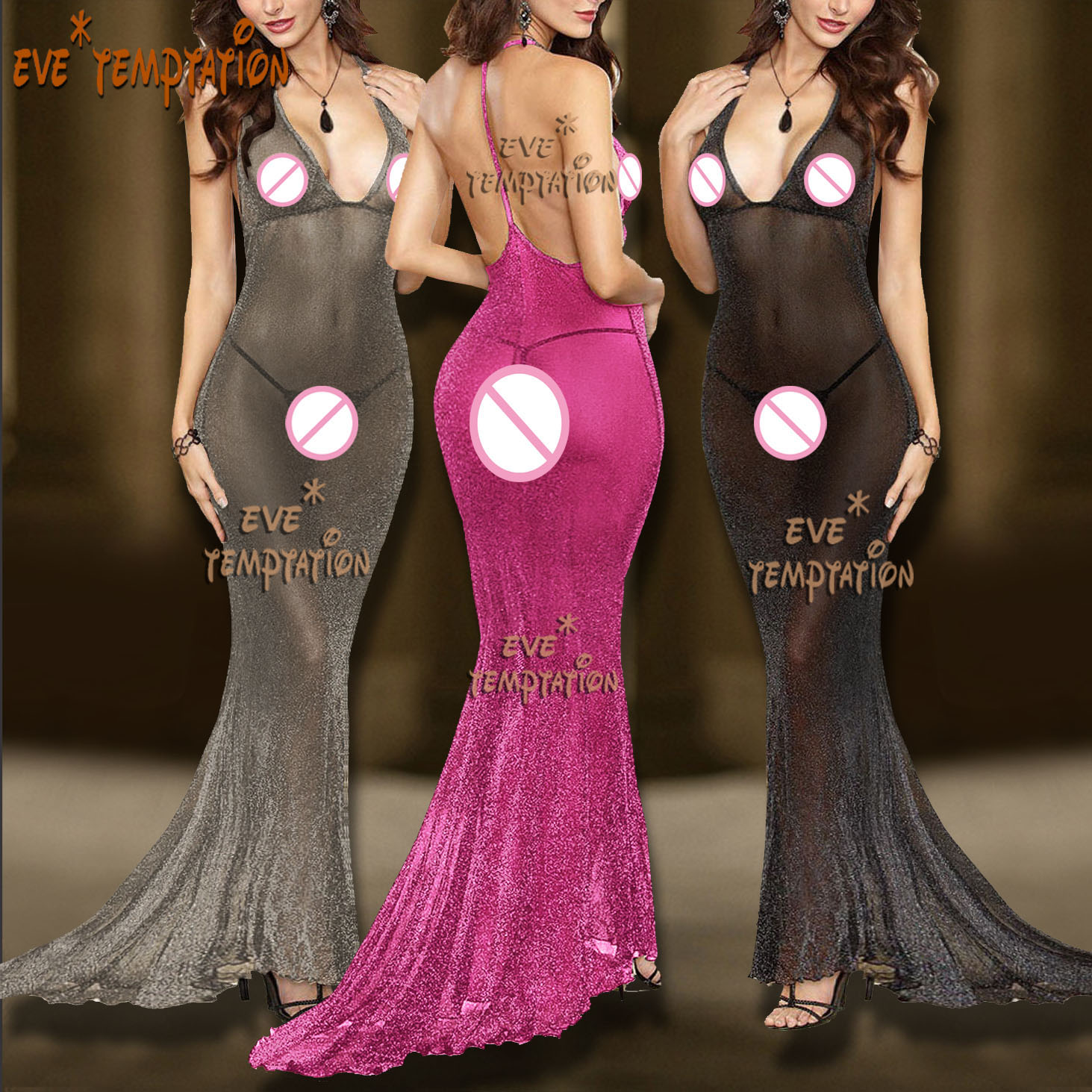Sexy Babydolls glisten backless Lingerie Sheer Underwear Costume Dovetail dress baby doll dress Body stocking Underwear 6670