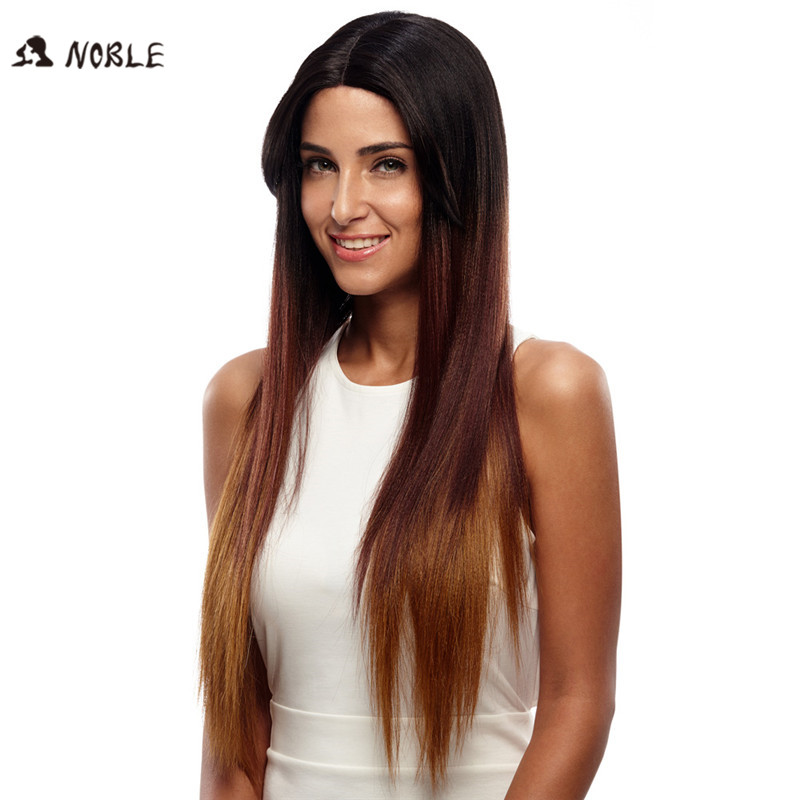 Noble Wigs For Black Women Straight New Lace Front Wig Synthetic Hair 30 Ombre Color Heat Resistant Cosplay Wig Free Shipping