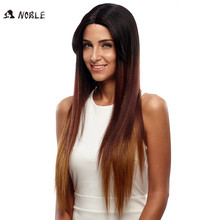 Noble Paryk För Svarta Kvinnor Lång Straight Lace Front Synthetic Hair 30 Inch Ombre Color Heat Resistant Cosplay Paryk Gratis frakt