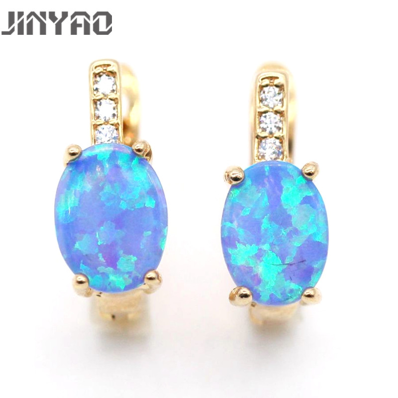 JINYAO Jewelry Best Gift Romántico Natural Fire Opal Color dorado - Bisutería