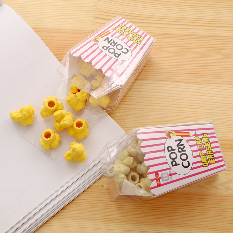 1BOX Creative Popcorn Rubber Pencil Eraser Student Study Material Kawaii Stationery Prizes For Kids Chic Gifts