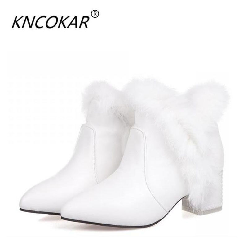 Winter white cotton-padded shoes rabbit fur thick heel small yards plus size female leather ankle boots snow boots plush shoes sandals genuine leather new woman s shoes high heel 10cm platform 1cm female summer small yards small yards eur size 34 39 page 5