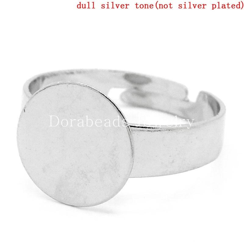 DoreenBeads Rings Adjustable Round Disc Silver Tone Cabochon Setting(Fits 12mm Dia) 17.9mm(US 7.5),20PCs (B24469) yiwu