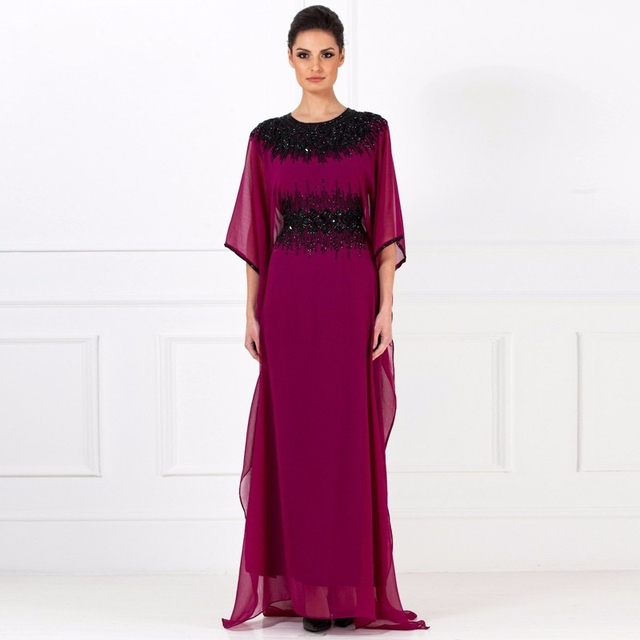 Fashion 2016 Dubai Arabic Kaftan Evening Dress Half Sleeve Vestidos