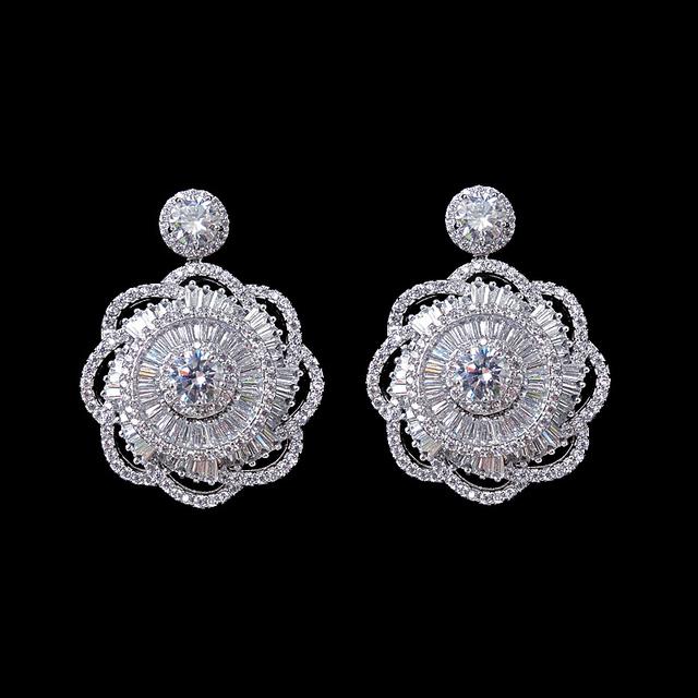 Branco Banhado A Ouro de Moda de Nova Mulheres Elegante Jóias Nupcial Do Casamento de Luxo AAA Cubic Zirconia Brincos Flor Grande