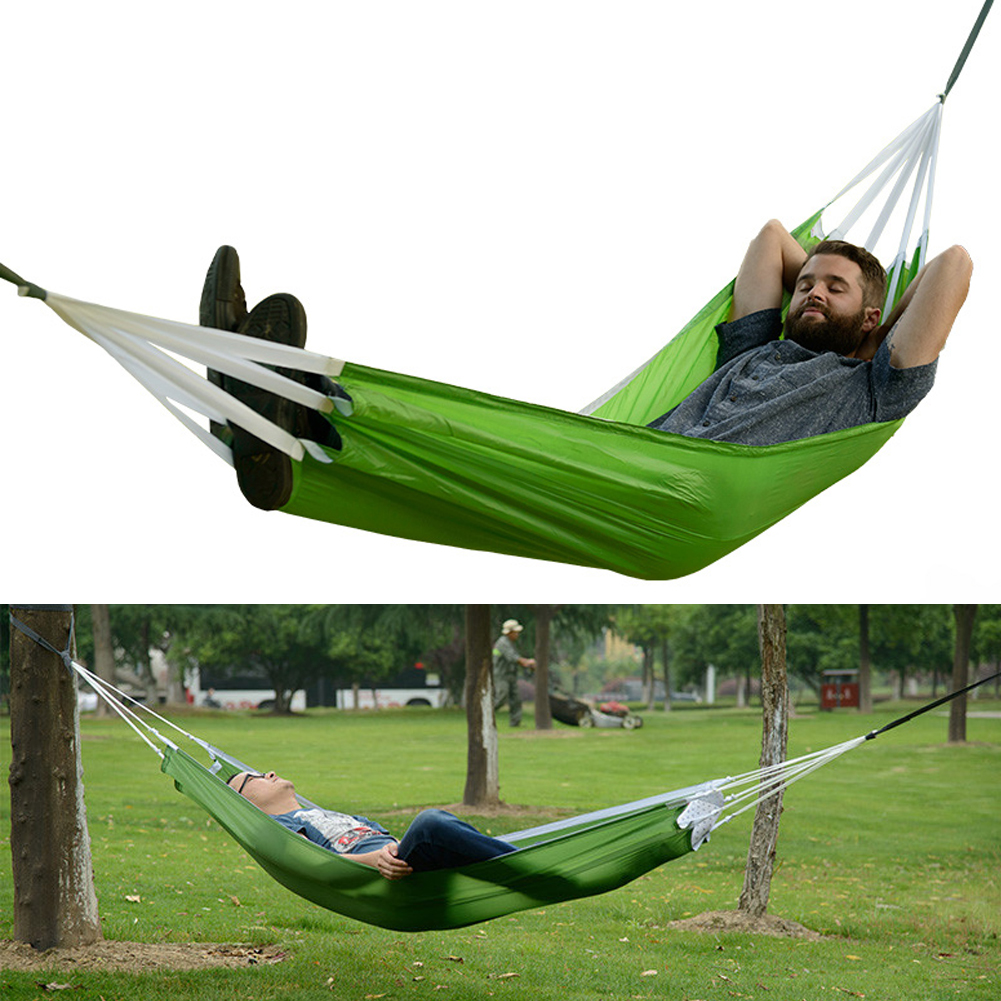 Outdoor hammock bed - S1 2017 Outdoor Hammock Sleeping Swing Bed Automatic Ultralight Outdoor Hiking Camping Hanging Bed Nylon Fabric Hamaca Parachute