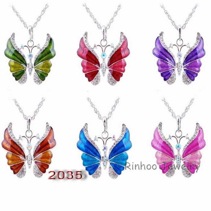 Tibetischen Schmetterling Halskette Legierung Emaille Schmetterling Anhänger Halsketten Suspension Silber Überzogene Vintage Halskette Für Frauen Schmuck