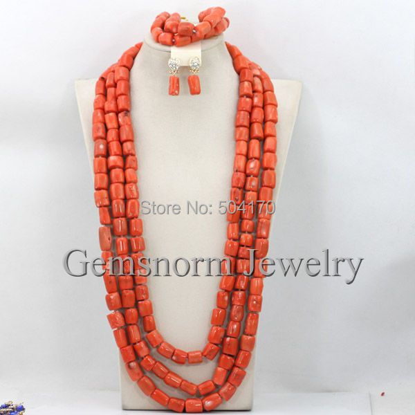 Luxury African Coral Beads Bridal Jewelry Set Long Coral Necklace Jewelry Set High Quality Free Shipping CNR243