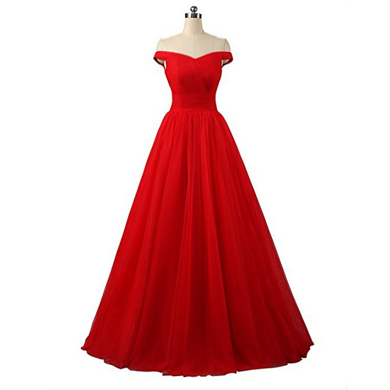 Off The Shoulder Red   Prom     Dresses   Pleats Tulle A-line Formal Party   Dresses   Red Burgundy Black Multi Color Simple   Prom   Gowns