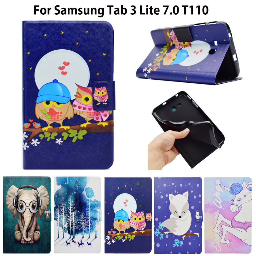Fashion Painted Case For Samsung Galaxy Tab 3 Lite 7.0 T110 T111 T115 T116 Cover tablet Silicon PU Leather Funda Stand Shell