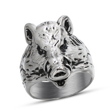Earringory pig head shaped fashion ring made of steel in gray color for both man and women Beauty and jewelry