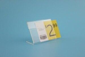 Image 2 - 4*6 cm 50 pcs L suporte de etiqueta de preço etiqueta de acrílico display card stand quadro etiqueta frame da tabela caso o titular sinal de mesa suporte de etiqueta