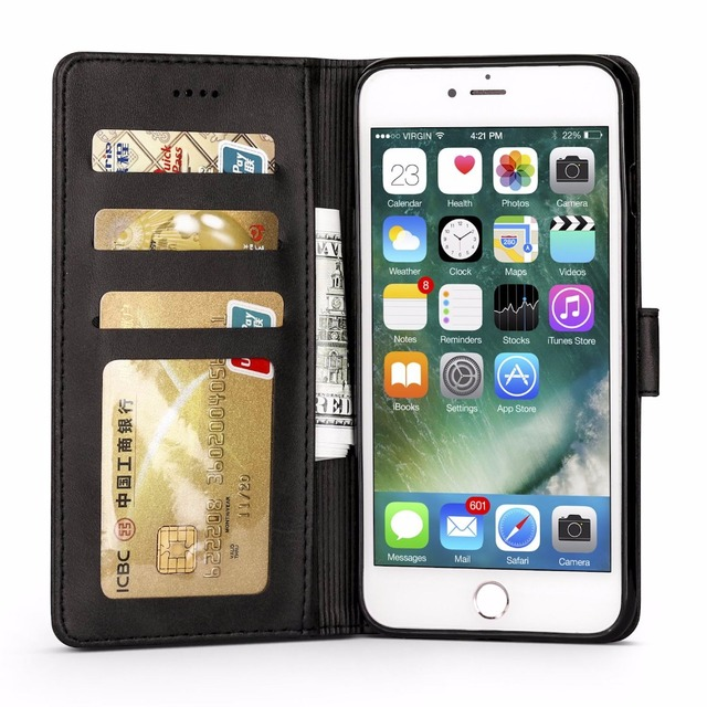 best loved 5a542 cd22c US $4.22 5% OFF|For iPhone 8 Case Luxury Leather & Wallet Cover iPhone 8  Plus Case Magnetic TPU Phone Coque Flip For iPhone8 Plus Fundas-in Wallet  ...