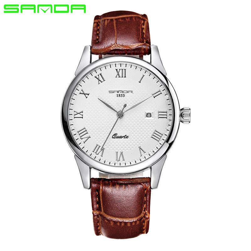 SANDA Men Fashion Quartz Watch Women Watches Top Brand Luxury Ladies Clock Relojes Hombre Leather Strap