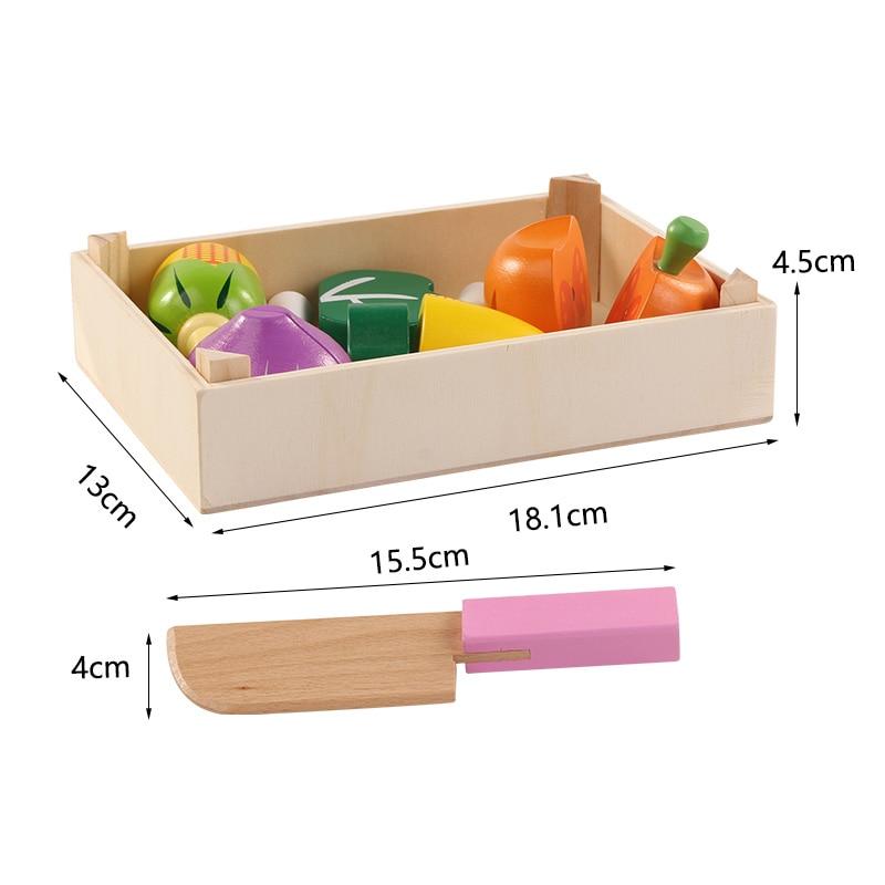 Lesene kuhinjske igrače Rezanje sadja Zelenjavna igra miniaturna - Igra igranja vlog - Fotografija 6