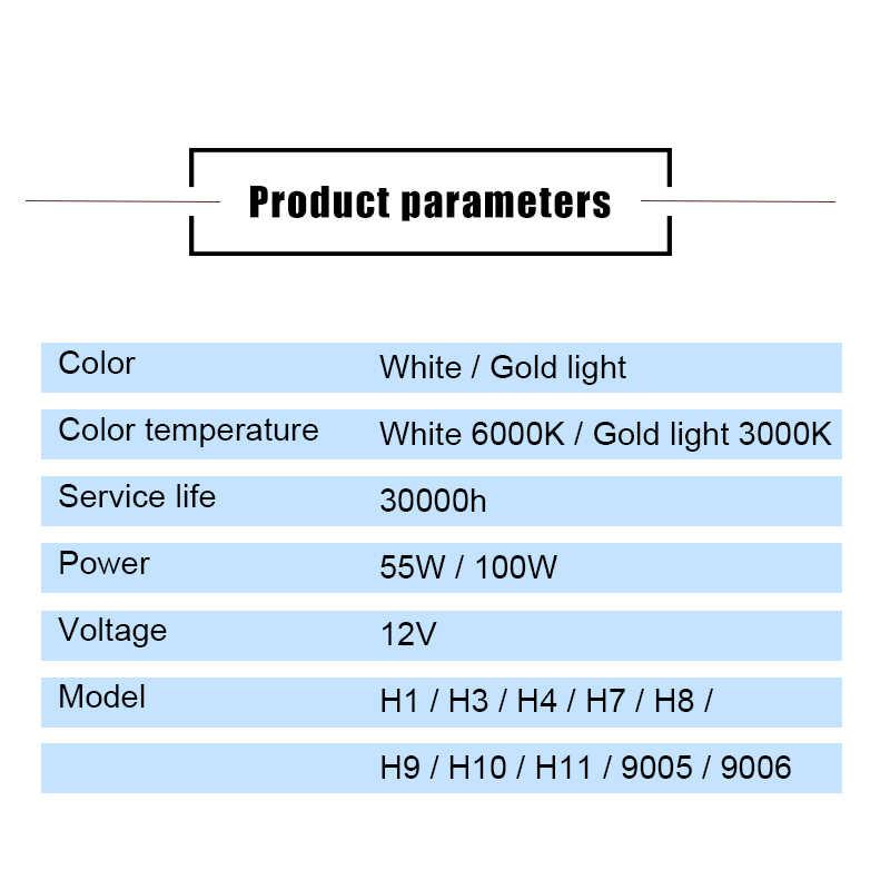 Car Light H1 H3 H4 H7 H8 H9 H11 9005 HB3 9006 HB4 Auto halogen lamp bulb Fog Lights 55W 100W 12V 3000K 6000K  Headlights Lamp