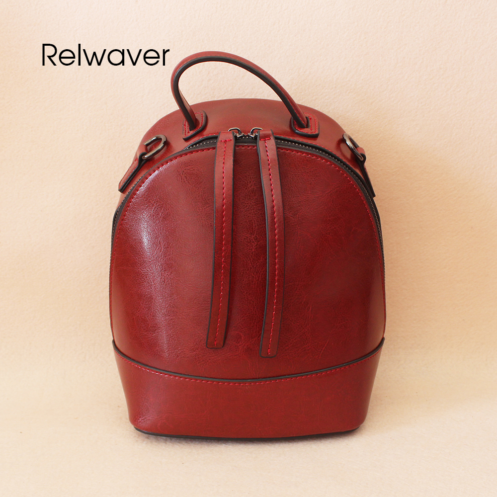 Relwaver leather backpack women waxy split cowhide small wine red fashion backpack for girls shoulder bags hard daily school bag 2017 fashion all match retro split leather women bag top grade small shoulder bags multilayer mini chain women messenger bags