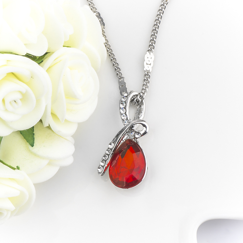 MISANANRYNE Fashion 10 Colors Austrian Crystal Water Drop Pendants&Necklaces Chain Necklace Fashion Jewelry For Women 23