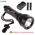 80M Underwater Diving 2000 Lumen Submersible CREE XM-L T6 LED Flashlight Torch+18650 4000mah + 18650 4000mah Battery+Charger