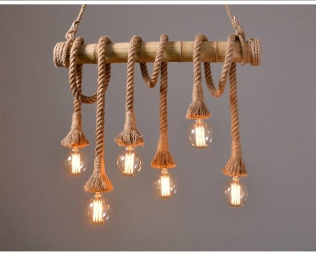 Verlichting Woonkamer Hanglamp : Vintage henneptouw hanglamp retro platteland rieten hanglampen met