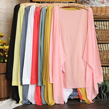 Bigsweety Summer Autumn Candy Color Knitted Cardigans Long Thin Women Jackets Female Coat Long Sleeve Sun Protection Clothing(China)