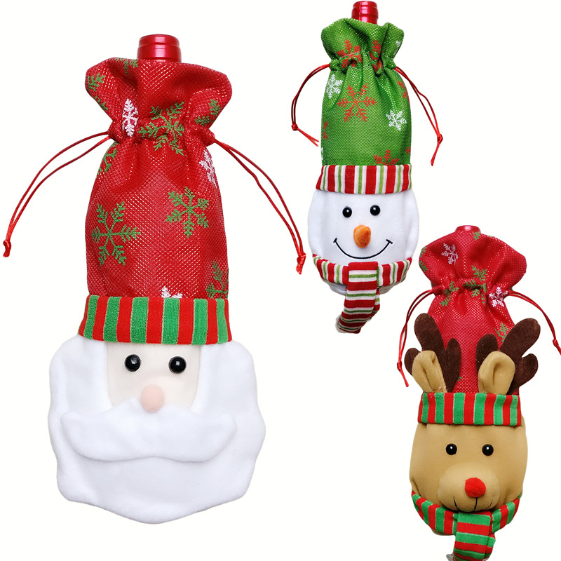 1pc Creative Santa Claus Snowman Elk Gift Bags Christmas Red Wine Bottle Cover Dining Table Party XMAS Gift Supplies