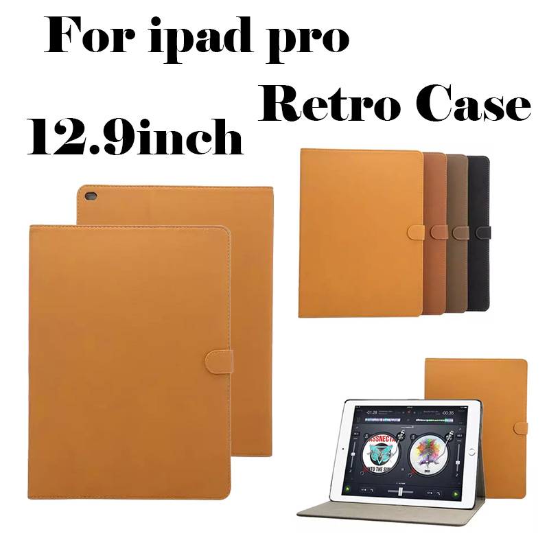 Fashion Retro Matte Protective Shell For iPad Pro 2016 New Luxury Stand Leather Back Cover Smart Case For iPad Pro 12.9 inch