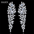 Gulicx Luxury Chandelier Crystal Bridal Drop Long Earrings with Stones for Women White Plated Party Wedding Jewelry GULI08a