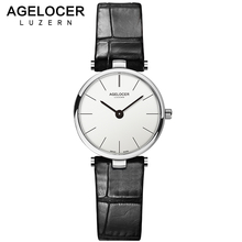 AGELOCER Swiss Brand Luxury Ladies Watch Fashion Leather Wrist Quartz Girl Watch for Women Dress Watches