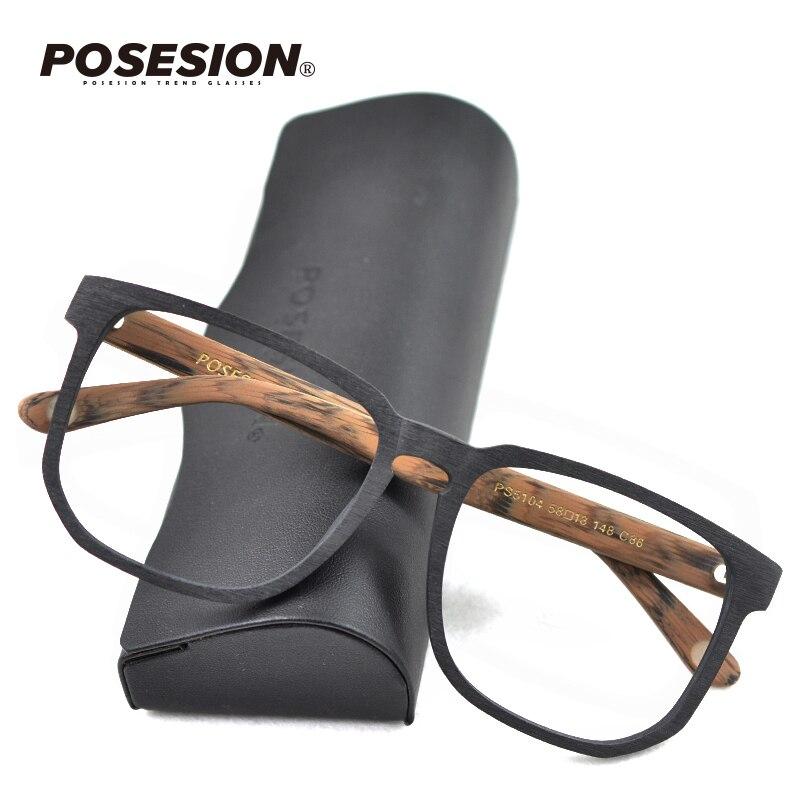 POSESION Square Ovesize Eyewear Frames Men Women Wood Handmade Spectacles Retro Vintage Wooden Prescription Glasses Frame
