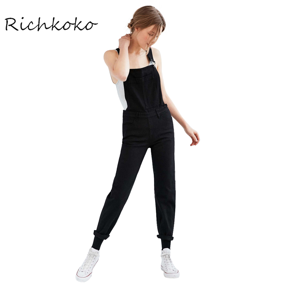 Richkoko Summer Solid Black Women Overall Zipper Side Pockets Slim Female Jumpsuit Basic Casual Streetwear Female Jumpsuit