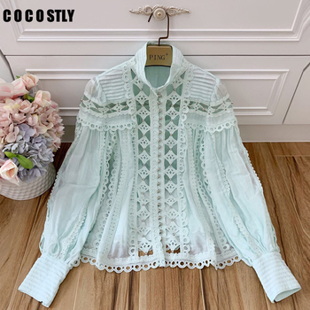 2019 Summer Runway Designer Beads White Blouse Women's Elegant Shirt Stand Collar Lantern Sleeve Hollow Out Tops clothes