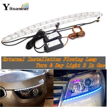 цена на Yituancar 2Pcs 50CM Flexible LED DRL Daytime Running Strip Light Flow Styling Turn Signal External Installation Car Fog Day Lamp