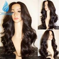 SHD перуанской тело волна Full Lace парики со средней частью бесклеевого человеческие волосы обесцвеченные парики вида шишка пучок Выделите Цве
