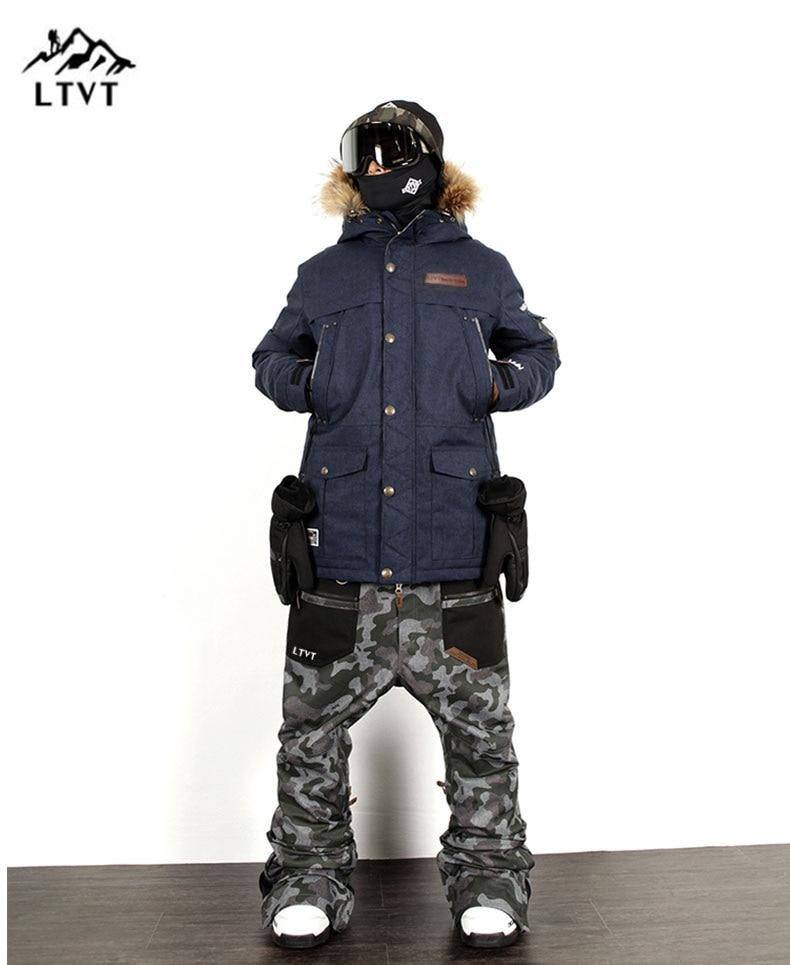 LTVT Marque Ski Costume Hommes/Femmes Snowboard vestes + Pantalon Costumes Chaud Neige Manteau Respirant Camouflage Imperméable Ski Ensembles