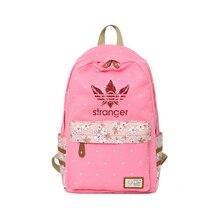 2018 Kpop Sranger things Backpack Flower wave point Rucksacks girls travel Shoulder Bag Women rugtas mochila escolar canvas bag