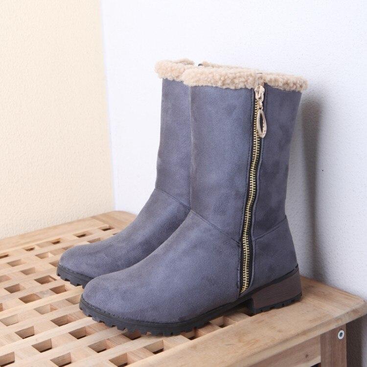 2017 Winter Stiefel Botas Mujer Big Größe 33-47 Neue Runde Kappe Schnalle Stiefel Für Frauen Casual Fashion Warm Winter Schuhe 919 Eleganter Auftritt