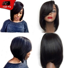 Virgin Hair Silky Straight Short Bob Wig 100% Unprocessed Full Lace & Lace Front Human Hair Bob Wigs For Black Women With Bangs