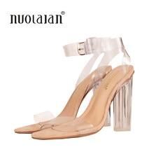 629d75ee 2018 más nuevas mujeres Bombas Zapatos celebridad con estilo simple pvc  transparente strappy hebilla Sandalias Tacones altos Zap.
