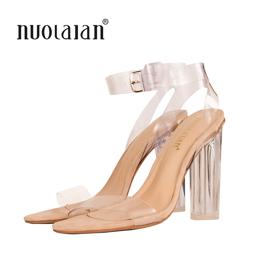 2018 Newest Women Pumps Shoes Celebrity Wearing Simple Style PVC Clear Transparent Strappy Buckle Sandals High Heels Shoes Woman
