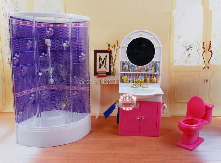 Purple Bathroom Washroom / Hand Washing Sink / Closestool Sets Dollhouse  Furniture Accessories For Barbie Kurhn