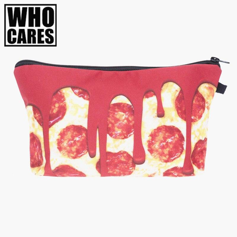 Pizza melt 3D Printing Pencil bags cosmetic bag 2017 who cares New trousse de maquillage necessaire women trousse de toilette